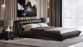Modern Adonis Black Tufted Genuine Leather Platform Bed – King